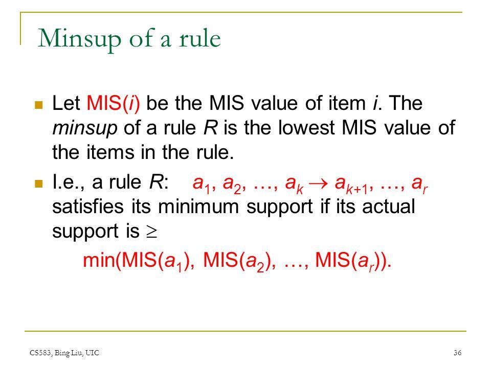 CS583, Bing Liu, UIC 36 Minsup of a rule Let MIS(i) be the MIS value of item i.