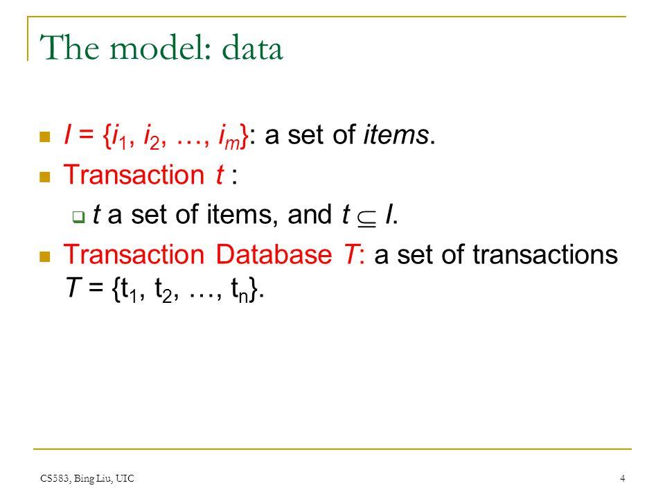 CS583, Bing Liu, UIC 4 The model: data I = {i 1, i 2, …, i m }: a set of items.