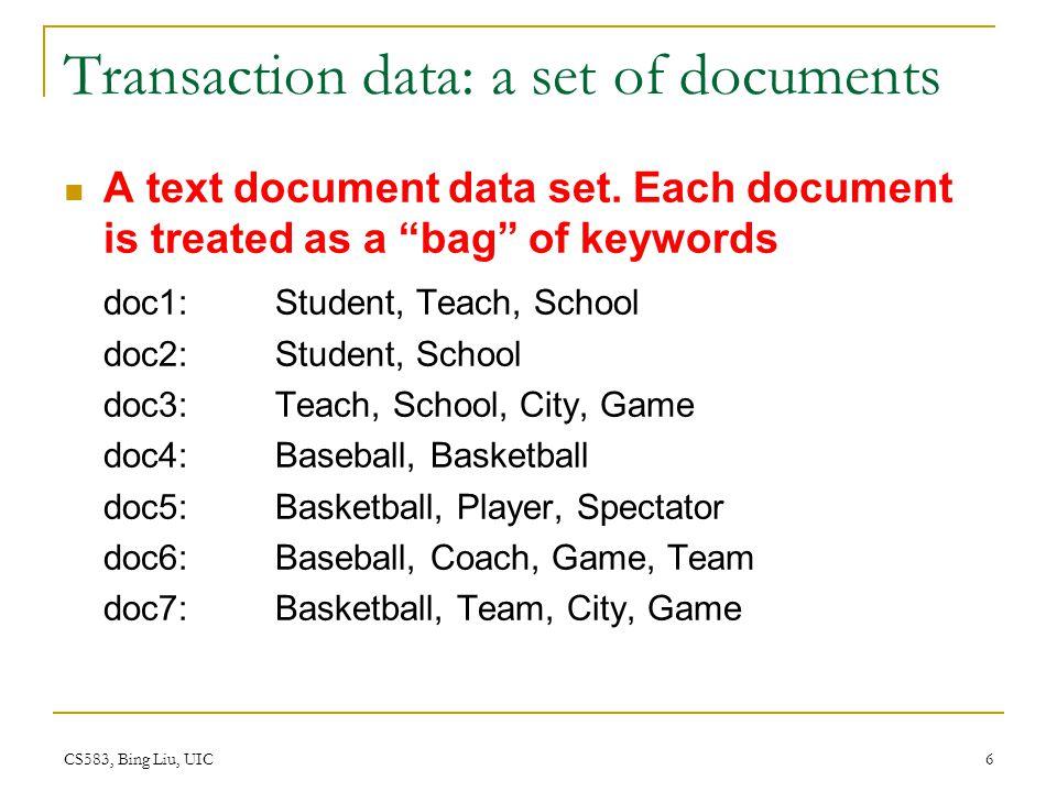 CS583, Bing Liu, UIC 6 Transaction data: a set of documents A text document data set.