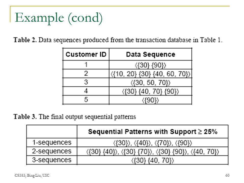 CS583, Bing Liu, UIC 60 Example (cond)