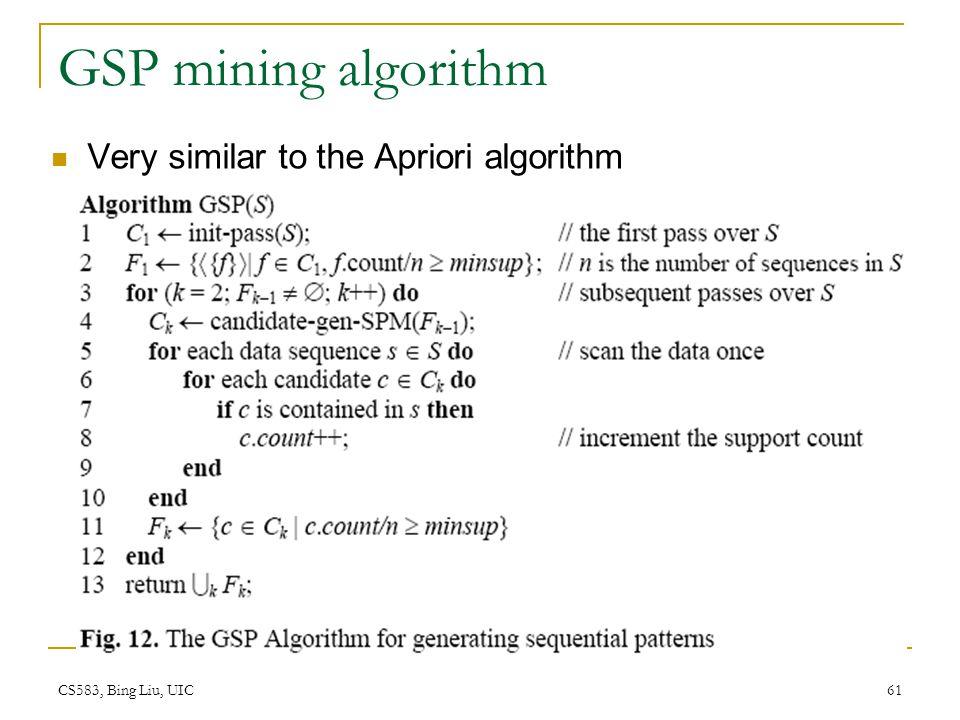 CS583, Bing Liu, UIC 61 GSP mining algorithm Very similar to the Apriori algorithm