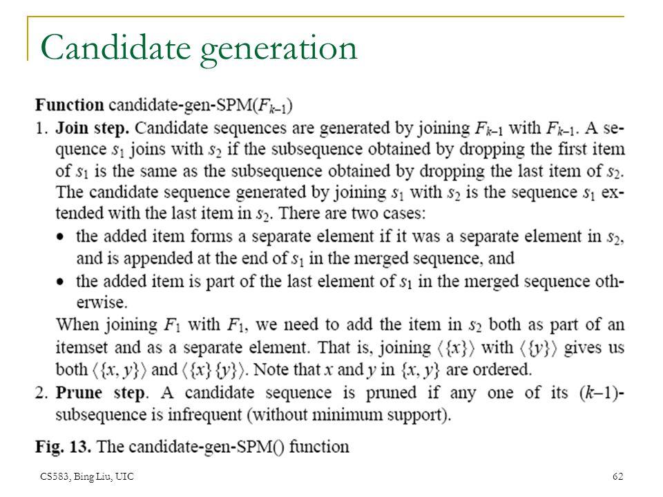 CS583, Bing Liu, UIC 62 Candidate generation