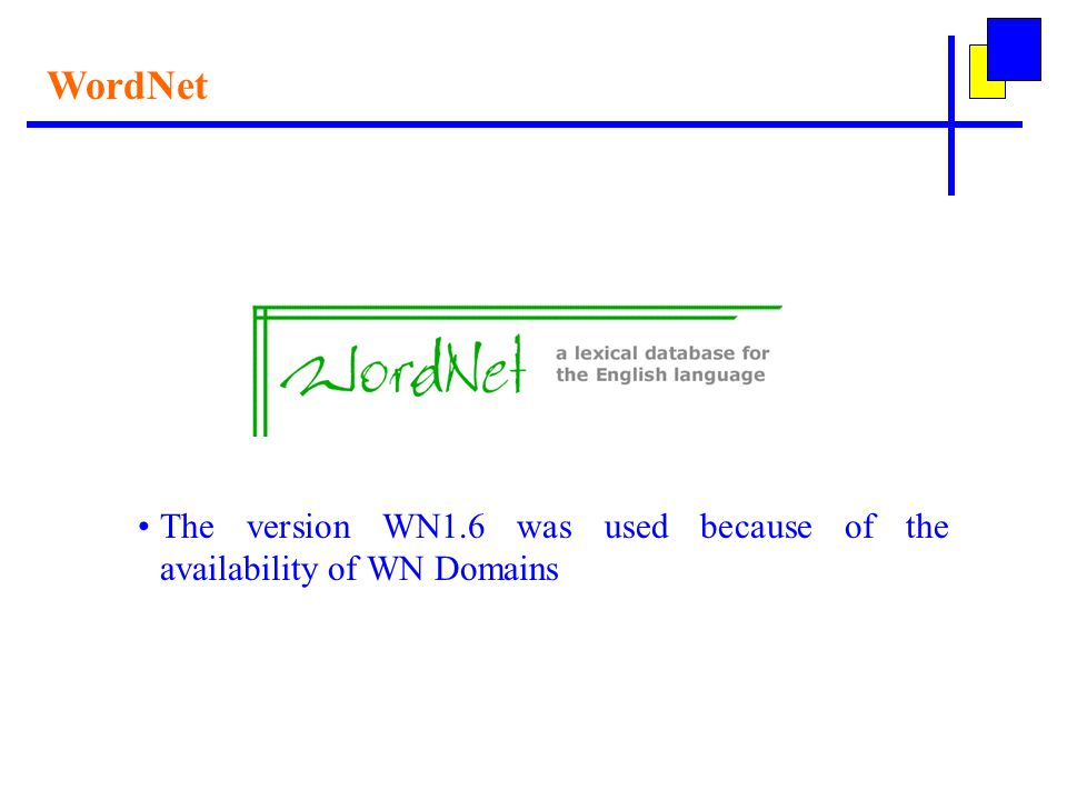 WordNet The version WN1.6 was used because of the availability of WN Domains