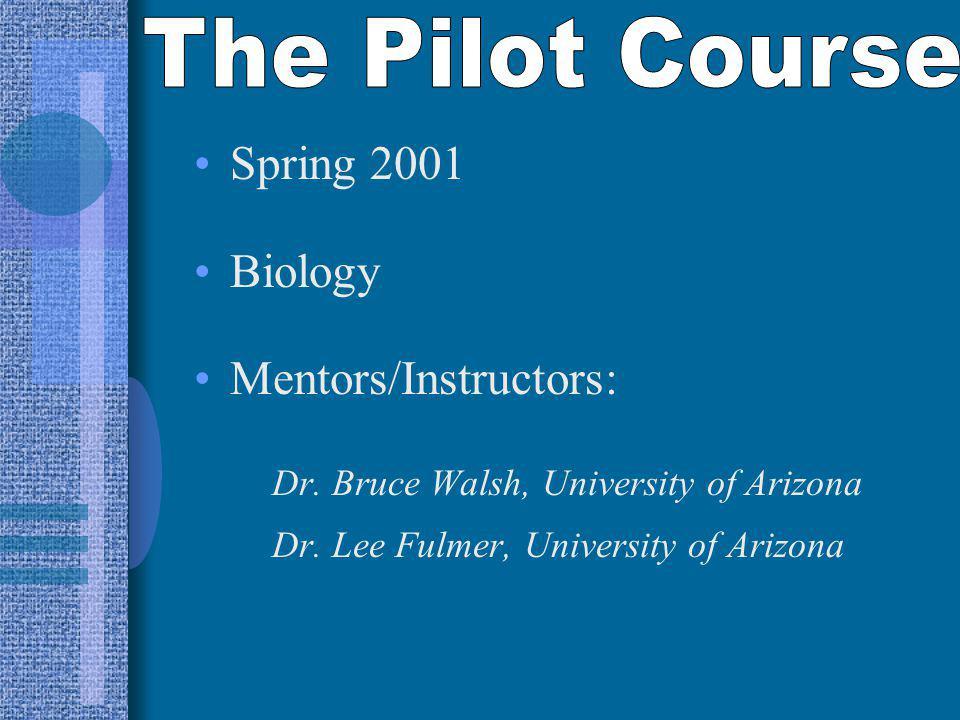 Spring 2001 Biology Mentors/Instructors: Dr.Bruce Walsh, University of Arizona Dr.