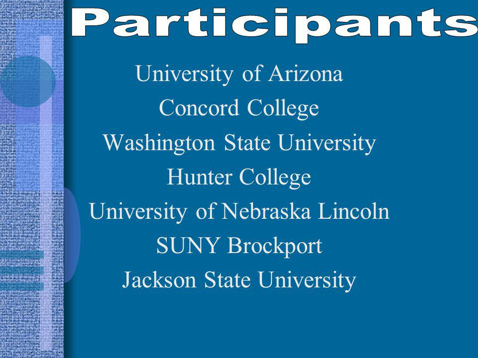 University of Arizona Concord College Washington State University Hunter College University of Nebraska Lincoln SUNY Brockport Jackson State University