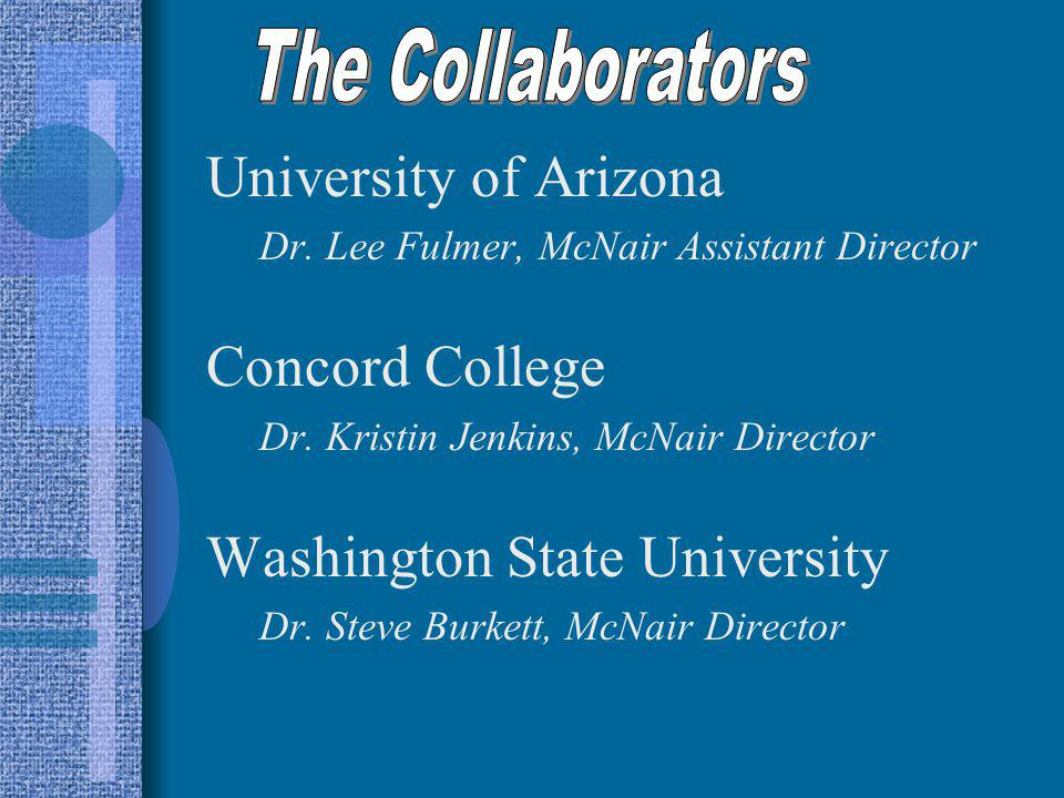 University of Arizona Dr. Lee Fulmer, McNair Assistant Director Concord College Dr. Kristin Jenkins, McNair Director Washington State University Dr. S