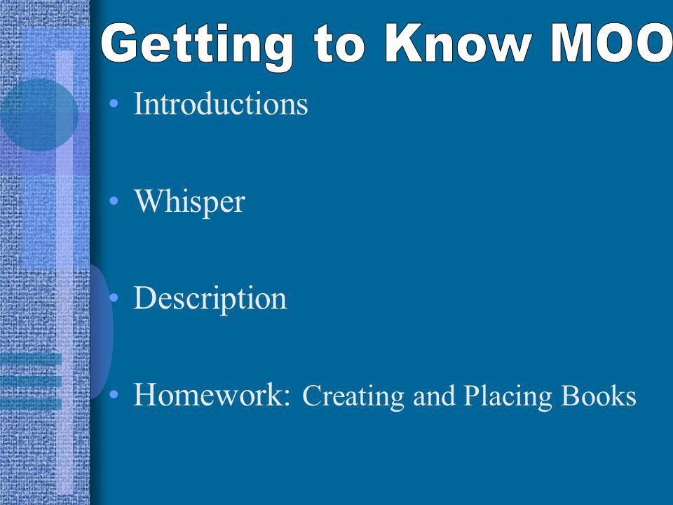 Introductions Whisper Description Homework: Creating and Placing Books
