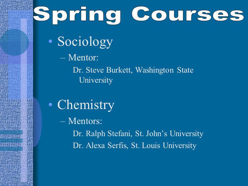 Sociology –Mentor: Dr. Steve Burkett, Washington State University Chemistry –Mentors: Dr.