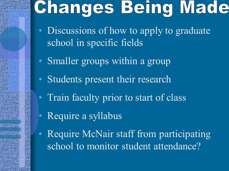 Discussions of how to apply to graduate school in specific fields Smaller groups within a group Students present their research Train faculty prior to start of class Require a syllabus Require McNair staff from participating school to monitor student attendance