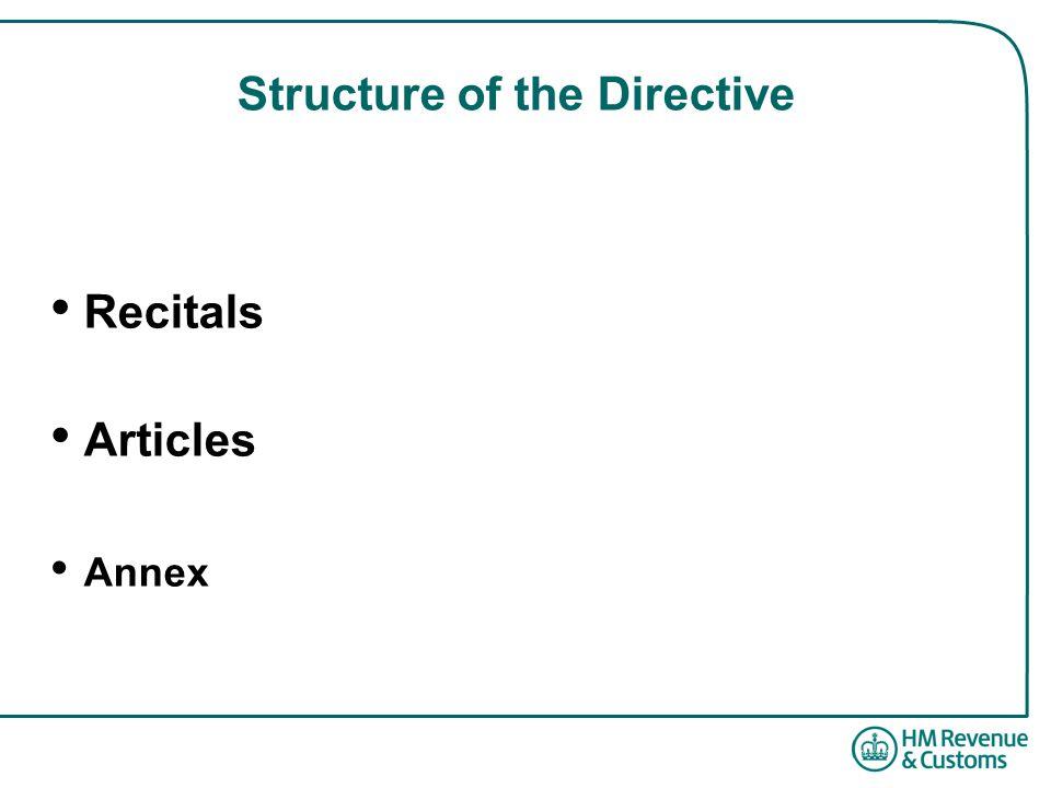 Structure of the Directive Recitals Articles Annex