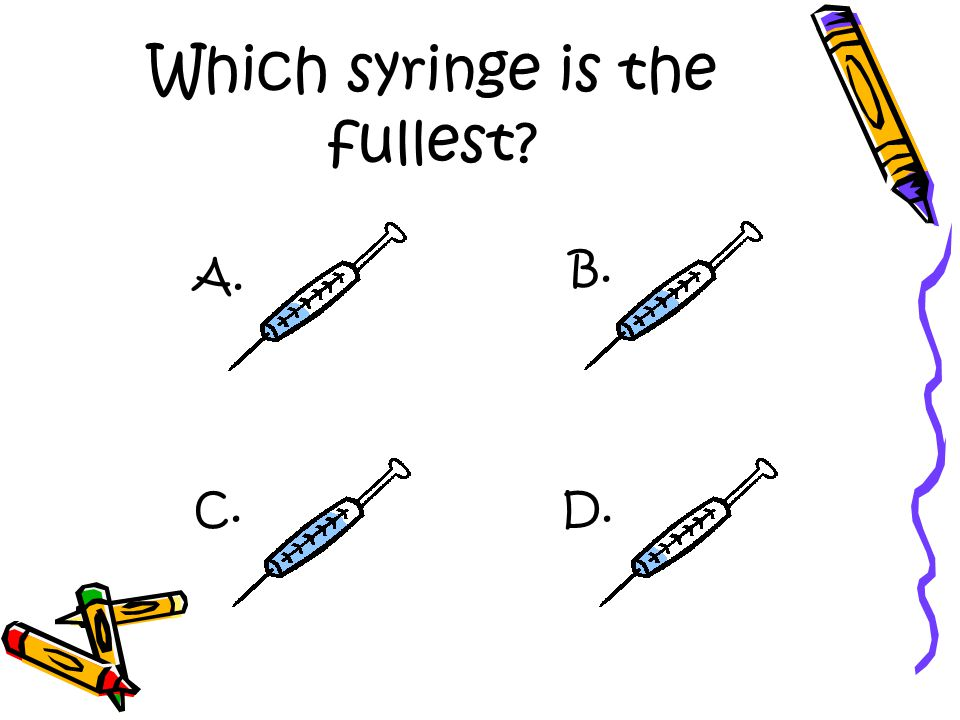 Which syringe is the fullest A. D. B. C.