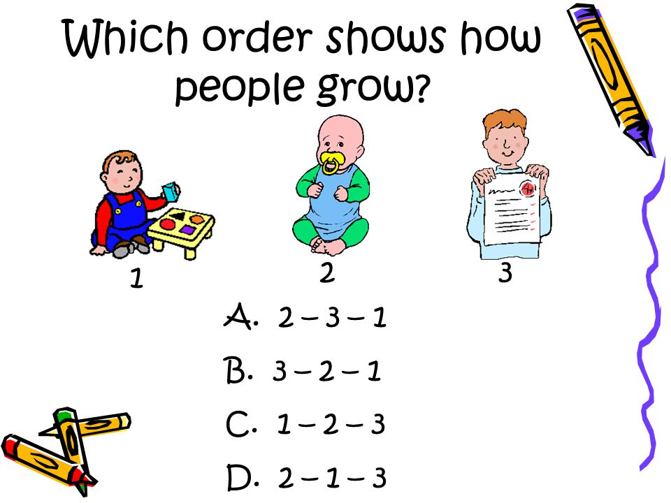 Which order shows how people grow 1 23 A. 2 – 3 – 1 B. 3 – 2 – 1 C. 1 – 2 – 3 D. 2 – 1 – 3