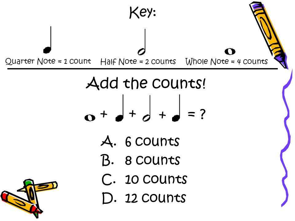 Key: Quarter Note = 1 count Half Note = 2 countsWhole Note = 4 counts Add the counts.
