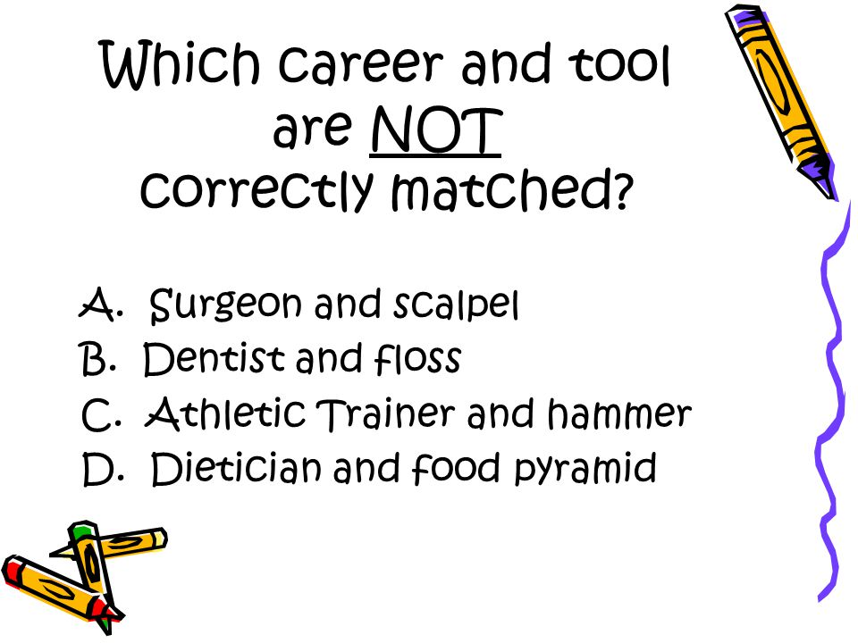 Which career and tool are NOT correctly matched. A.