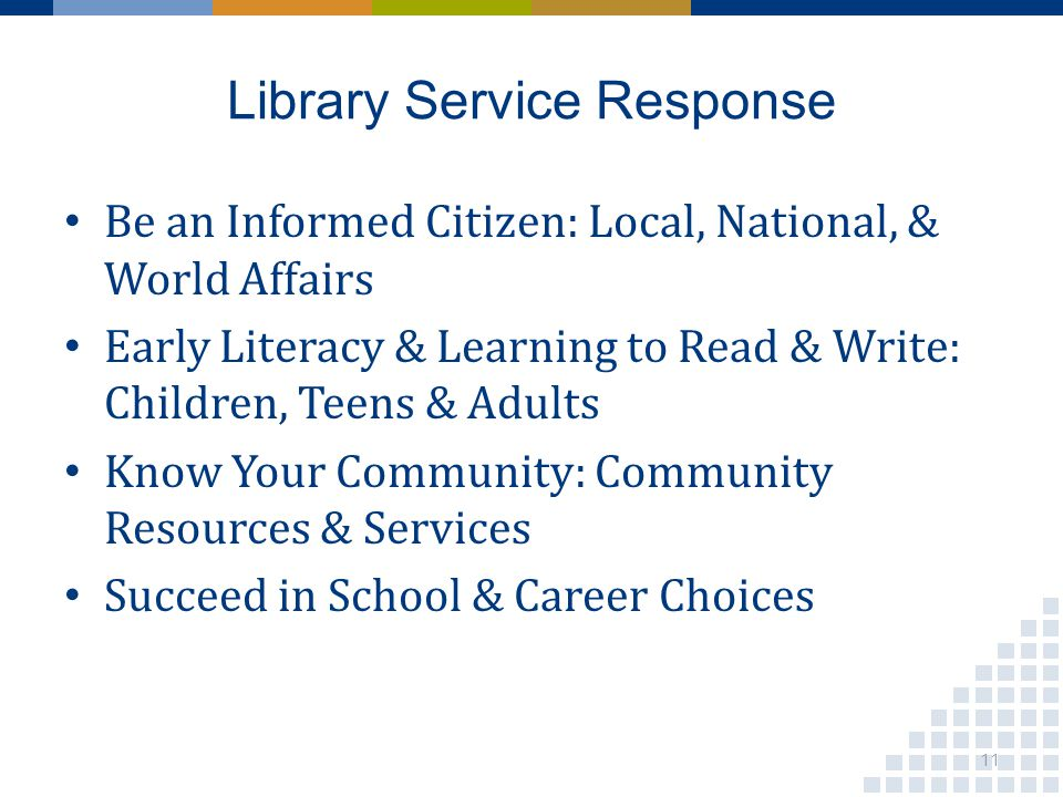 Library Service Response Be an Informed Citizen: Local, National, & World Affairs Early Literacy & Learning to Read & Write: Children, Teens & Adults Know Your Community: Community Resources & Services Succeed in School & Career Choices 11