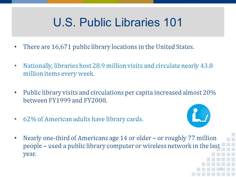 U.S. Public Libraries 101 There are 16,671 public library locations in the United States. Nationally, libraries host 28.9 million visits and circulate