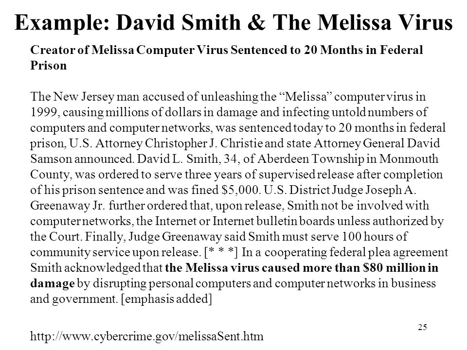 25 Example: David Smith & The Melissa Virus Creator of Melissa Computer Virus Sentenced to 20 Months in Federal Prison The New Jersey man accused of unleashing the Melissa computer virus in 1999, causing millions of dollars in damage and infecting untold numbers of computers and computer networks, was sentenced today to 20 months in federal prison, U.S.