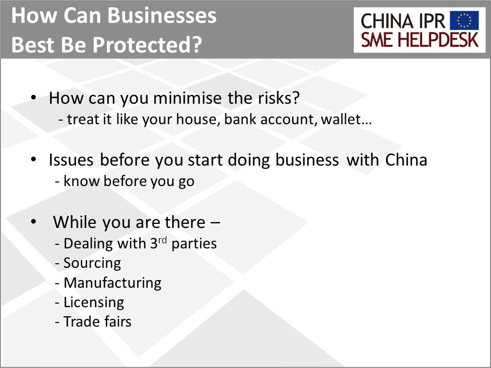 How Can Businesses Best Be Protected. How can you minimise the risks.