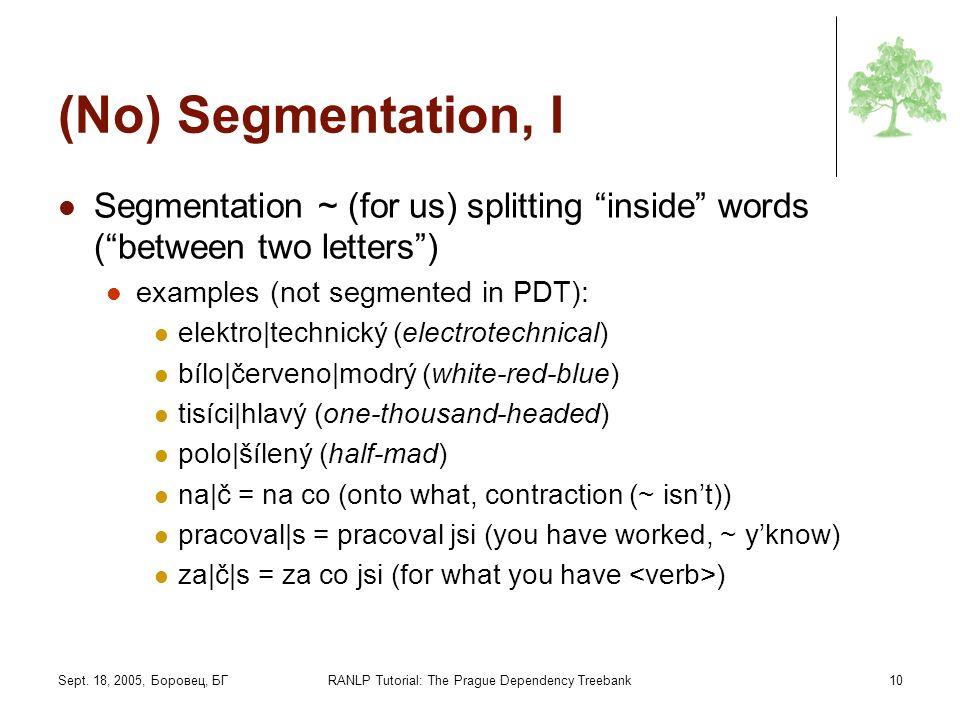 Sept. 18, 2005, Боровец, БГRANLP Tutorial: The Prague Dependency Treebank10 (No) Segmentation, I Segmentation ~ (for us) splitting inside words (betwe
