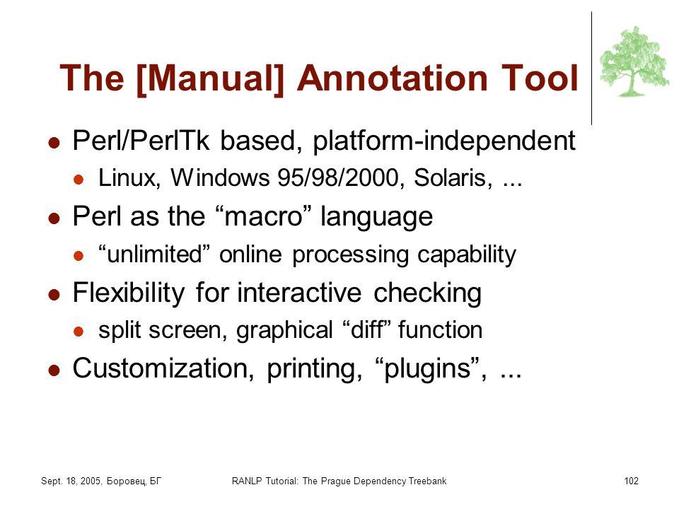 Sept. 18, 2005, Боровец, БГRANLP Tutorial: The Prague Dependency Treebank102 The [Manual] Annotation Tool Perl/PerlTk based, platform-independent Linu