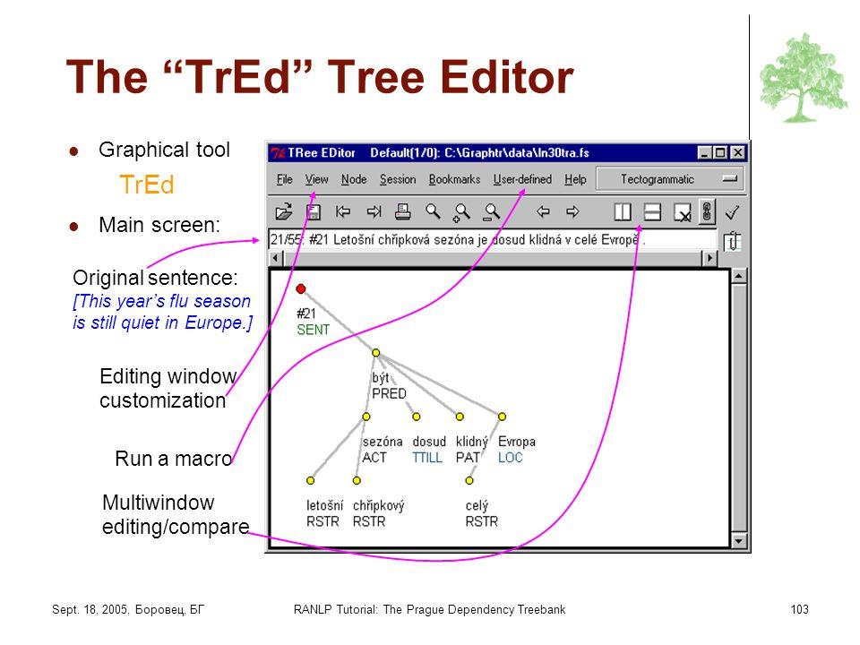 Sept. 18, 2005, Боровец, БГRANLP Tutorial: The Prague Dependency Treebank103 The TrEd Tree Editor Graphical tool TrEd Main screen: Original sentence: