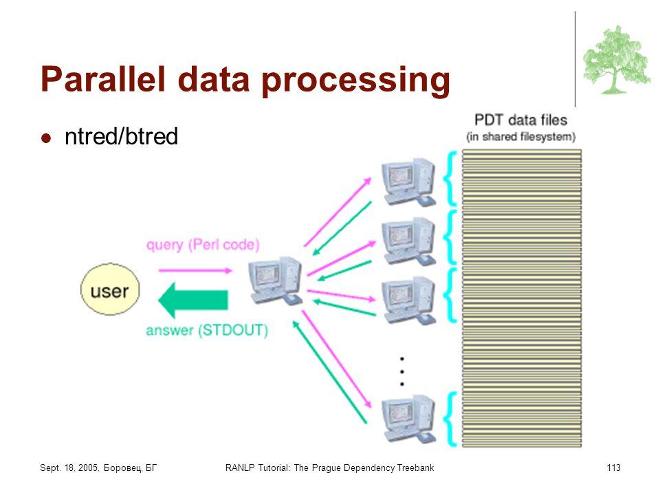 Sept. 18, 2005, Боровец, БГRANLP Tutorial: The Prague Dependency Treebank113 Parallel data processing ntred/btred