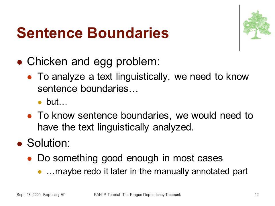 Sept. 18, 2005, Боровец, БГRANLP Tutorial: The Prague Dependency Treebank12 Sentence Boundaries Chicken and egg problem: To analyze a text linguistica