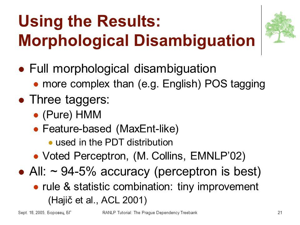 Sept. 18, 2005, Боровец, БГRANLP Tutorial: The Prague Dependency Treebank21 Using the Results: Morphological Disambiguation Full morphological disambi