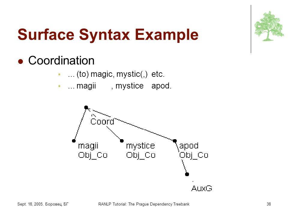 Sept. 18, 2005, Боровец, БГRANLP Tutorial: The Prague Dependency Treebank38 Surface Syntax Example Coordination... (to) magic, mystic(,) etc.... magii