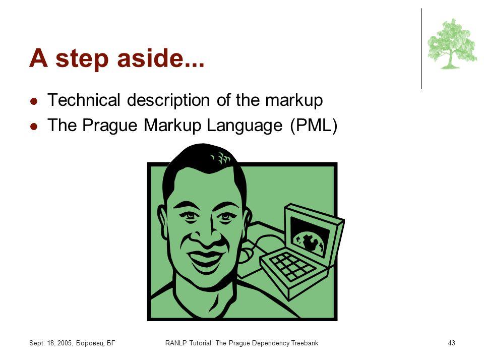 Sept. 18, 2005, Боровец, БГRANLP Tutorial: The Prague Dependency Treebank43 A step aside... Technical description of the markup The Prague Markup Lang
