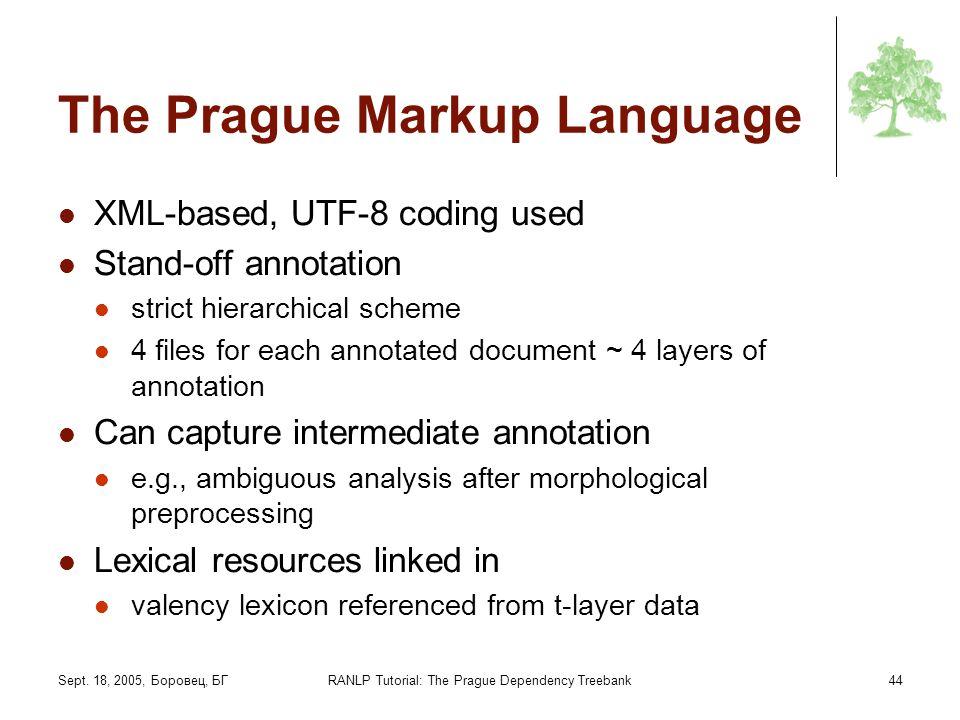 Sept. 18, 2005, Боровец, БГRANLP Tutorial: The Prague Dependency Treebank44 The Prague Markup Language XML-based, UTF-8 coding used Stand-off annotati