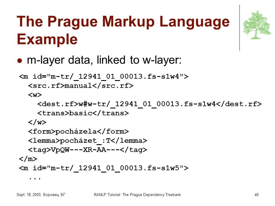 Sept. 18, 2005, Боровец, БГRANLP Tutorial: The Prague Dependency Treebank46 The Prague Markup Language Example m-layer data, linked to w-layer: manual