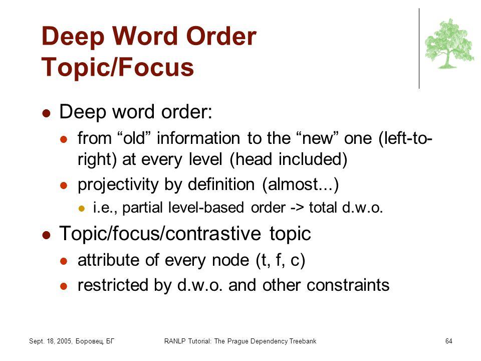 Sept. 18, 2005, Боровец, БГRANLP Tutorial: The Prague Dependency Treebank64 Deep Word Order Topic/Focus Deep word order: from old information to the n