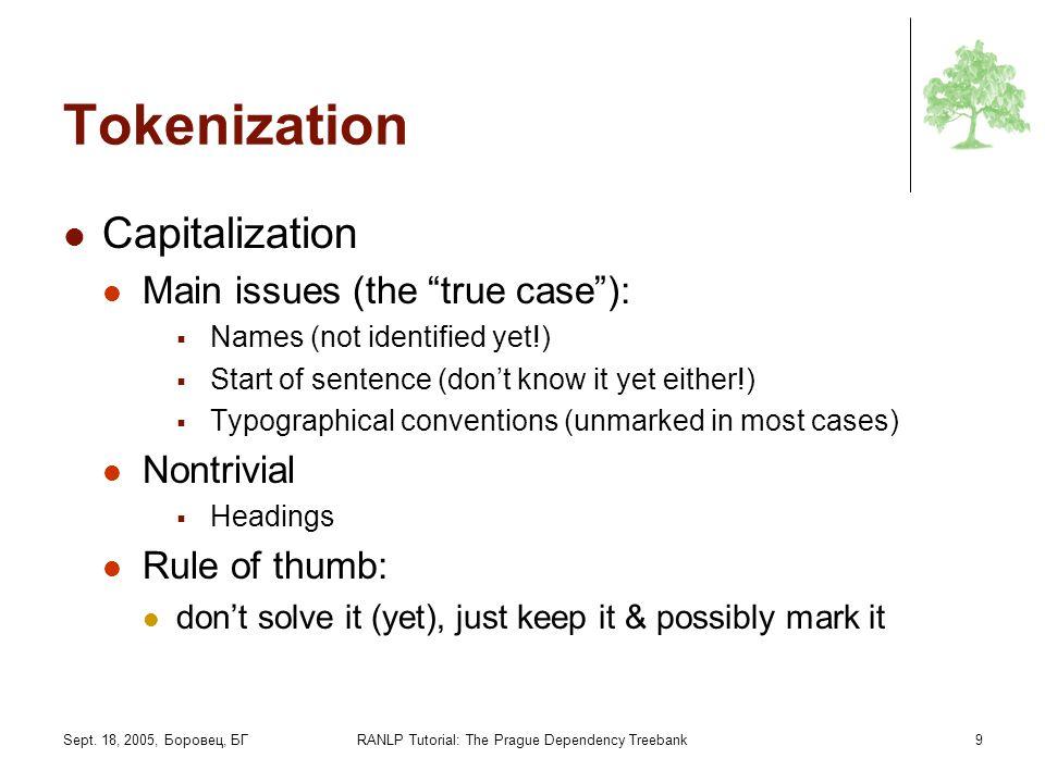 Sept. 18, 2005, Боровец, БГRANLP Tutorial: The Prague Dependency Treebank9 Tokenization Capitalization Main issues (the true case): Names (not identif