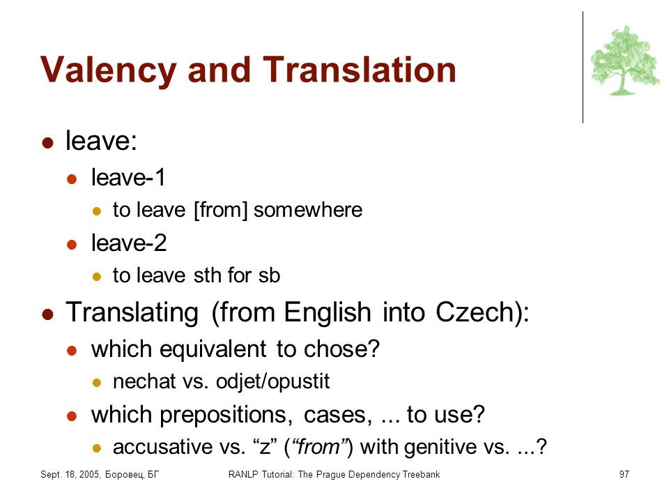 Sept. 18, 2005, Боровец, БГRANLP Tutorial: The Prague Dependency Treebank97 Valency and Translation leave: leave-1 to leave [from] somewhere leave-2 t