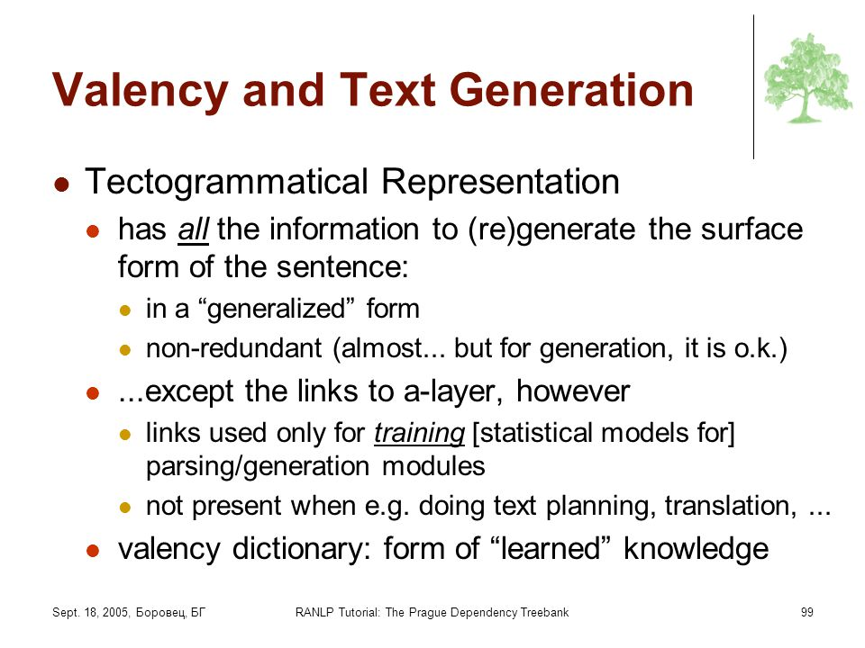 Sept. 18, 2005, Боровец, БГRANLP Tutorial: The Prague Dependency Treebank99 Valency and Text Generation Tectogrammatical Representation has all the in
