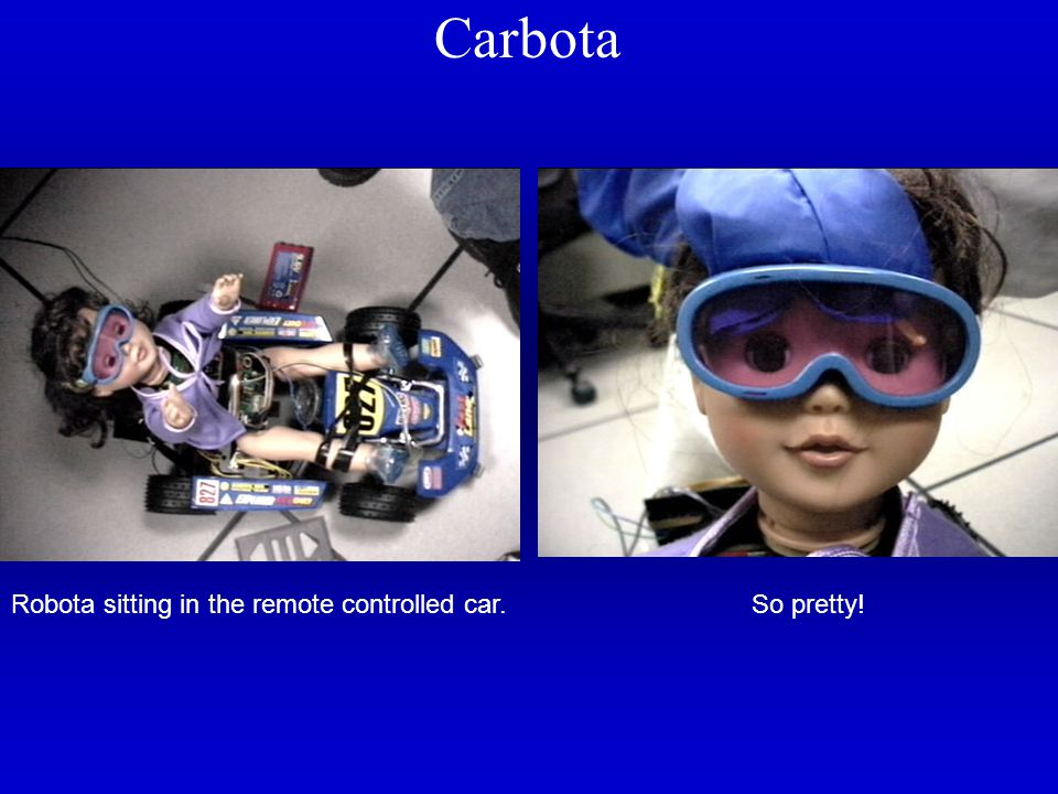 Carbota So pretty!Robota sitting in the remote controlled car.