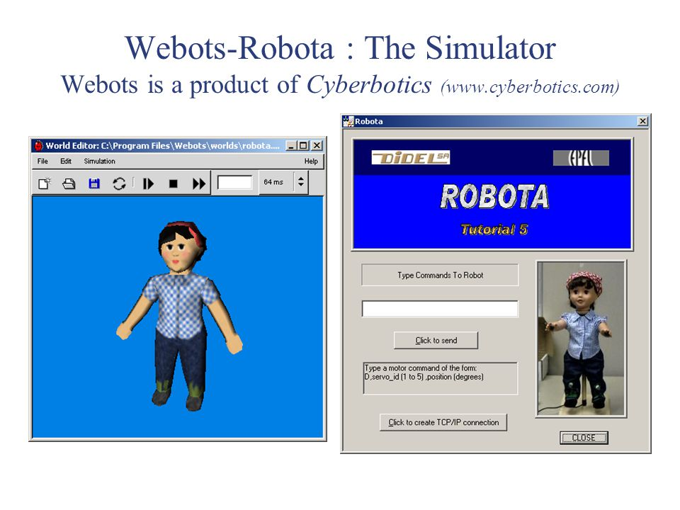 Webots-Robota : The Simulator Webots is a product of Cyberbotics (www.cyberbotics.com)