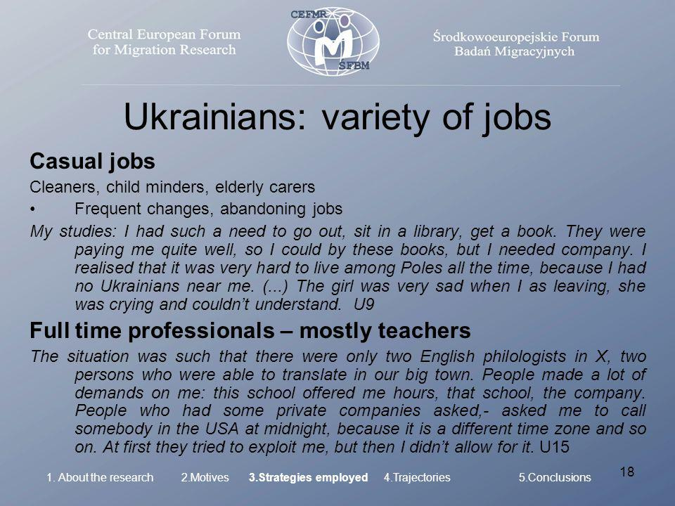 18 Ukrainians: variety of jobs Casual jobs Cleaners, child minders, elderly carers Frequent changes, abandoning jobs My studies: I had such a need to go out, sit in a library, get a book.