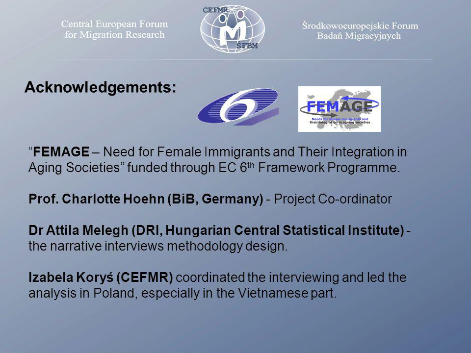 Acknowledgements: FEMAGE – Need for Female Immigrants and Their Integration in Aging Societies funded through EC 6 th Framework Programme.