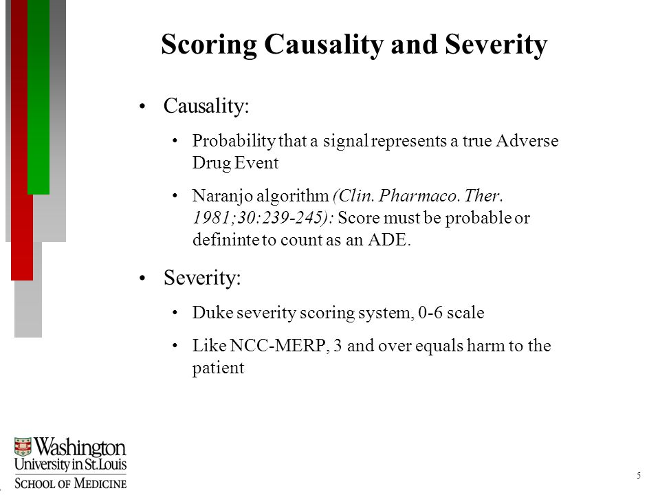 5 Scoring Causality and Severity Causality: Probability that a signal represents a true Adverse Drug Event Naranjo algorithm (Clin.