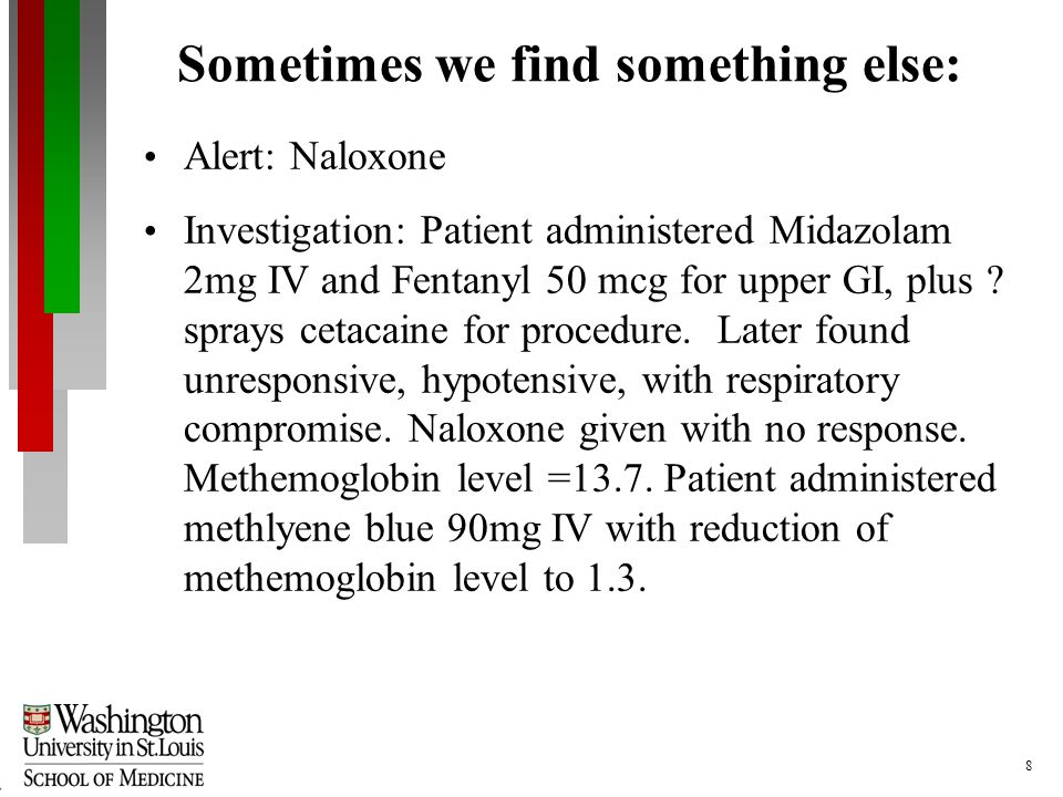 8 Sometimes we find something else: Alert: Naloxone Investigation: Patient administered Midazolam 2mg IV and Fentanyl 50 mcg for upper GI, plus .