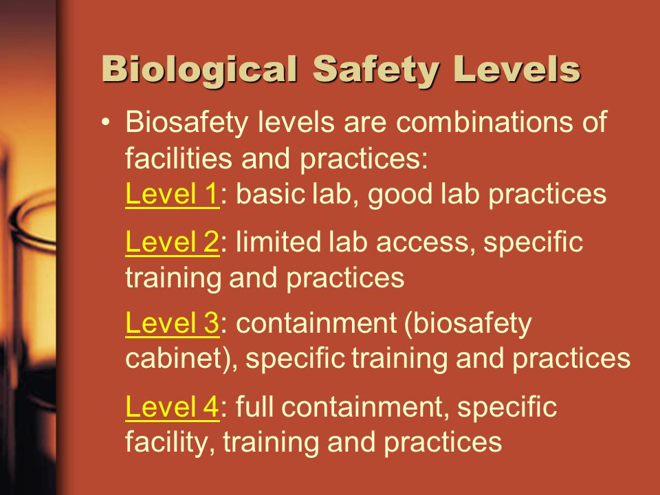 Biological Safety Levels Biosafety levels are combinations of facilities and practices: Level 1: basic lab, good lab practices Level 2: limited lab ac