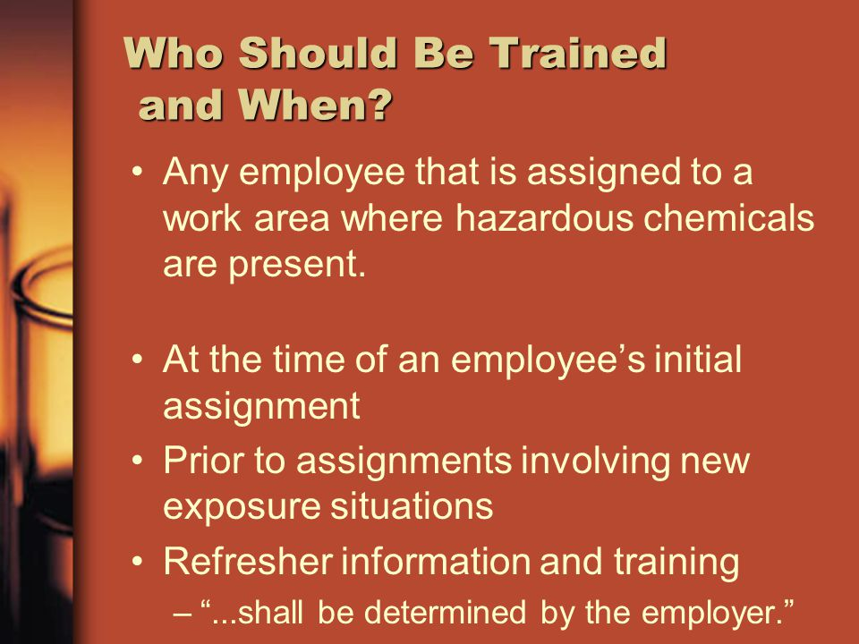 Who Should Be Trained and When? Any employee that is assigned to a work area where hazardous chemicals are present. At the time of an employees initia