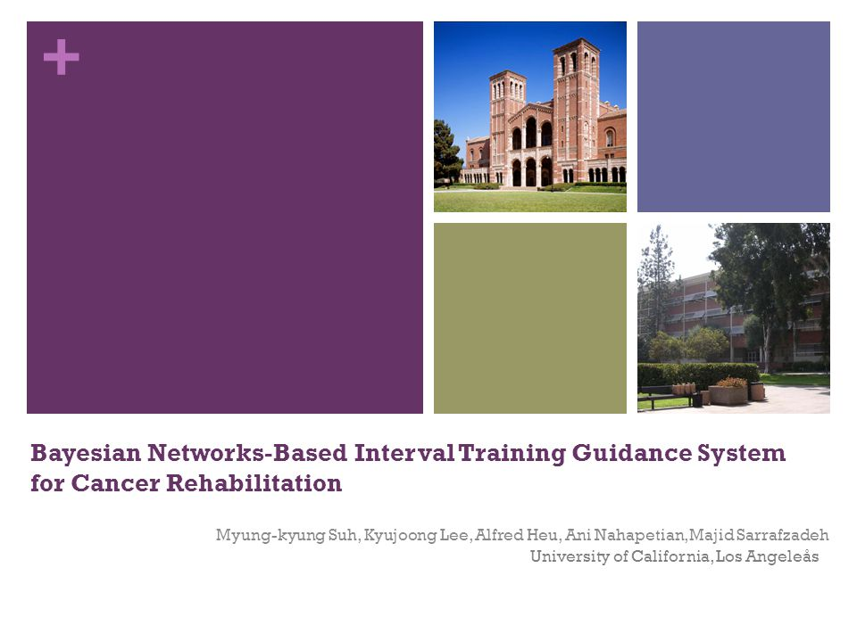 + Bayesian Networks-Based Interval Training Guidance System for Cancer Rehabilitation Myung-kyung Suh, Kyujoong Lee, Alfred Heu, Ani Nahapetian, Majid Sarrafzadeh University of California, Los Angeleås
