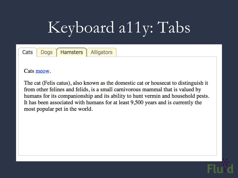Keyboard a11y: Tabs