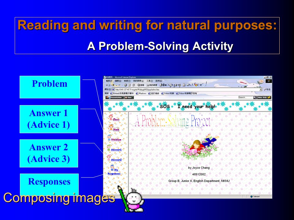 Reading and writing for natural purposes: A Problem-Solving Activity Problem Answer 1 (Advice 1) Answer 2 (Advice 3) Responses Composing images