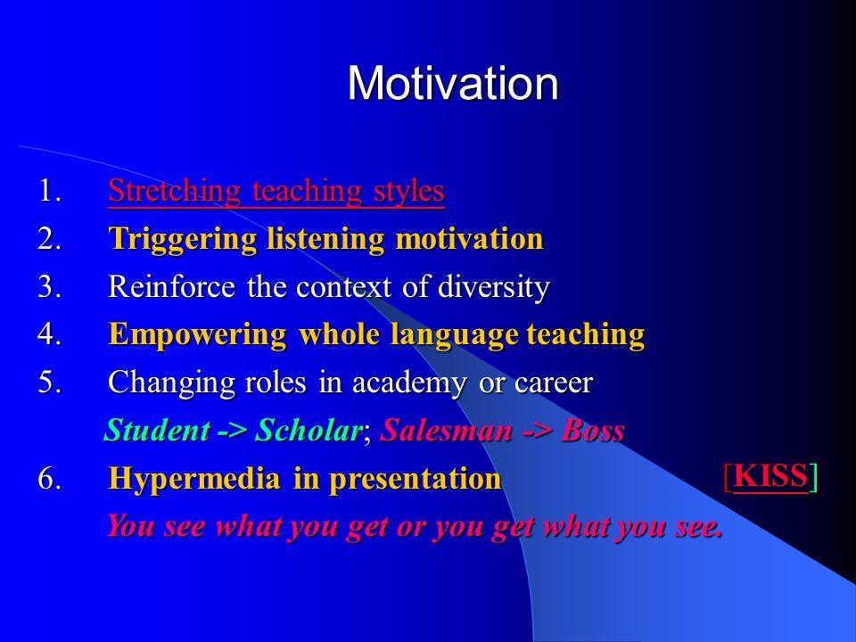 Motivation 1.Stretching teaching styles Stretching teaching stylesStretching teaching styles 2.