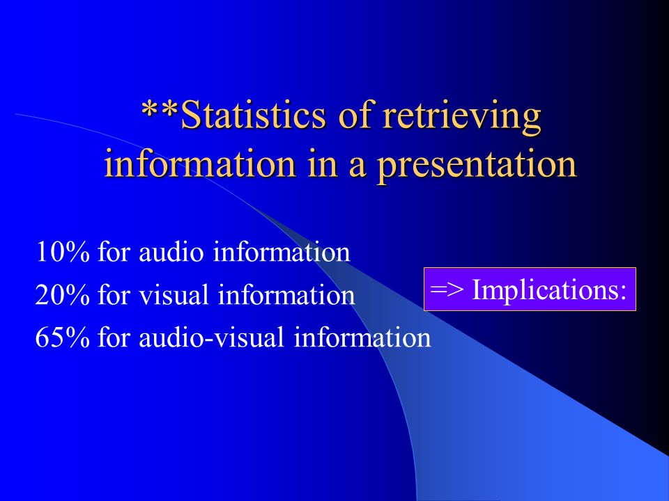 **Statistics of retrieving information in a presentation 10% for audio information 20% for visual information 65% for audio-visual information => Implications: