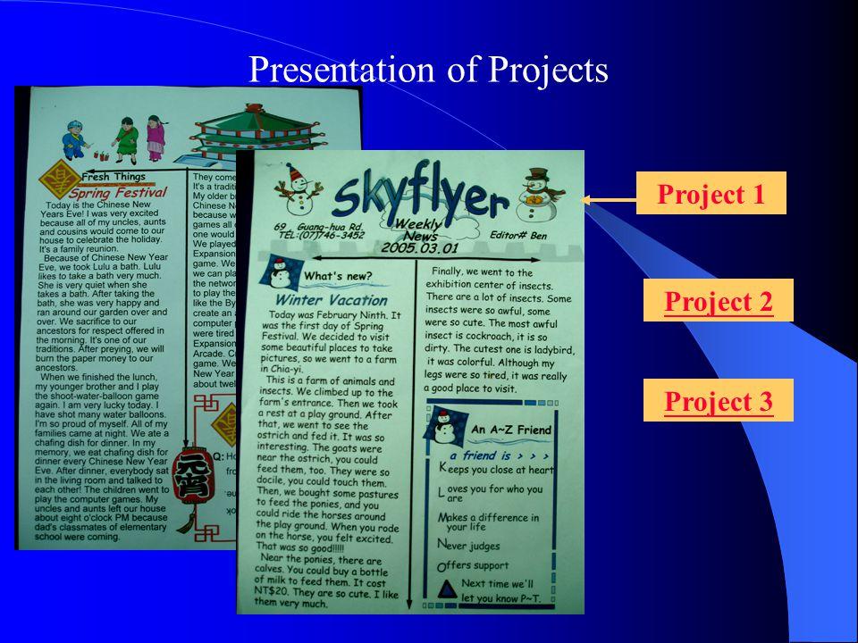Project 1 Project 2 Project 3 Presentation of Projects